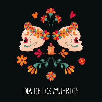 Cukru czaszki i dekoracje kwiatowe na ciemnym tle. dzień śmierci. dia de los muertos.