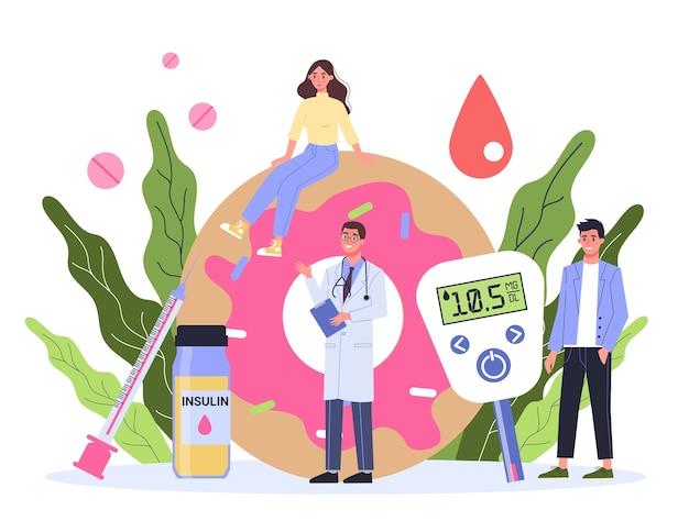 Cukrzyca. pomiar poziomu cukru we krwi za pomocą glukometru. światowy dzień świadomości diabetyków. idea opieki zdrowotnej i leczenia.