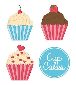 Cup cake urodziny na białym tle ilustracji wektorowych
