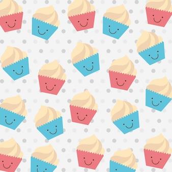 Cup cake urodziny na kropkowanym tle ilustracji wektorowych