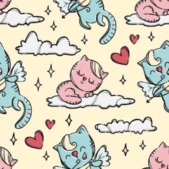 Cupid kitten kot strzela łucznictwo do małego kota śpiącego w chmurze w różowym niebie. ręcznie rysowane kreskówka wzór
