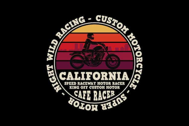 Custom motor california, projekt w stylu retro.