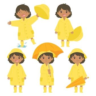 Cute african american girl w żółty płaszcz wektor zestaw