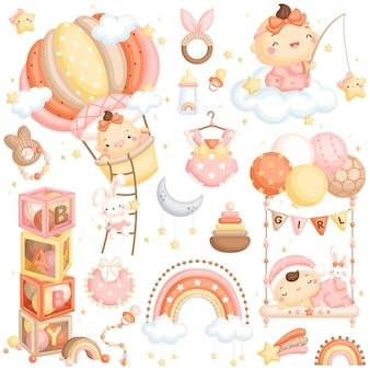 Cute air balloon baby girl vector set