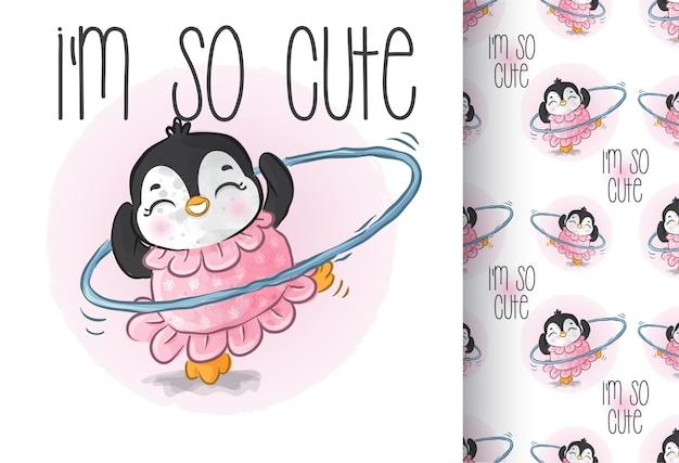 Cute animal baby pingwin szczęśliwy taniec wzór