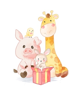 Cute animal cartoon friends z ilustracji pudełko prezent