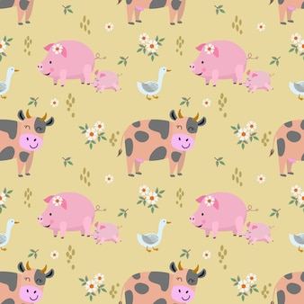 Cute animal farm cow pig duck seamless pattern