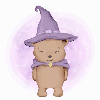 Cute animal little bear wear hat