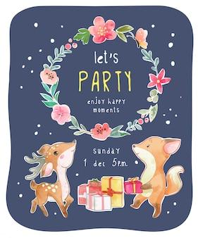 Cute animal party card z kwiatową ilustracją wieniec