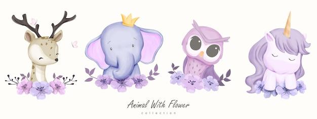 Cute animal z kolekcją kwiatów