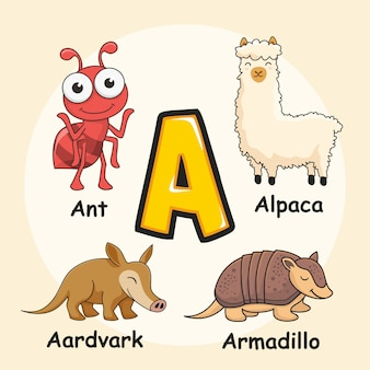 Cute animals alfabet litera a