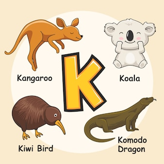 Cute animals alfabet litera k