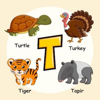 Cute animals alfabet litera t.