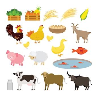 Cute animals farm cartoon set