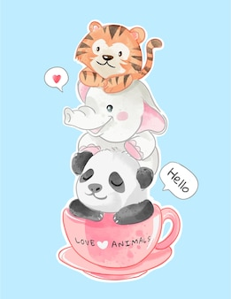 Cute animals friends in coffee cup illustration