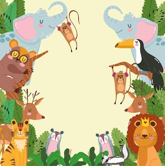 Cute animals jungle foliage cartoon