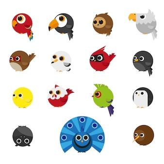 Cute animals zestaw ikon ptaków
