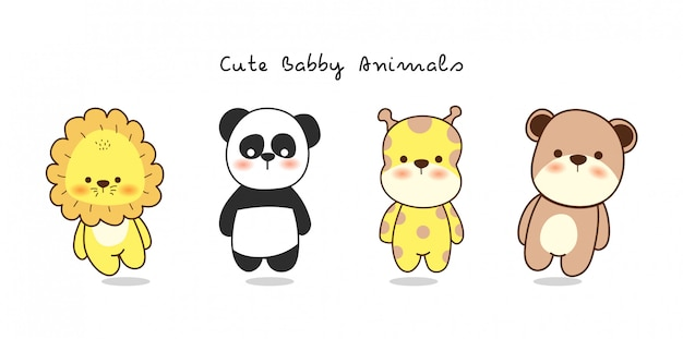 Cute baby animal cartoon design