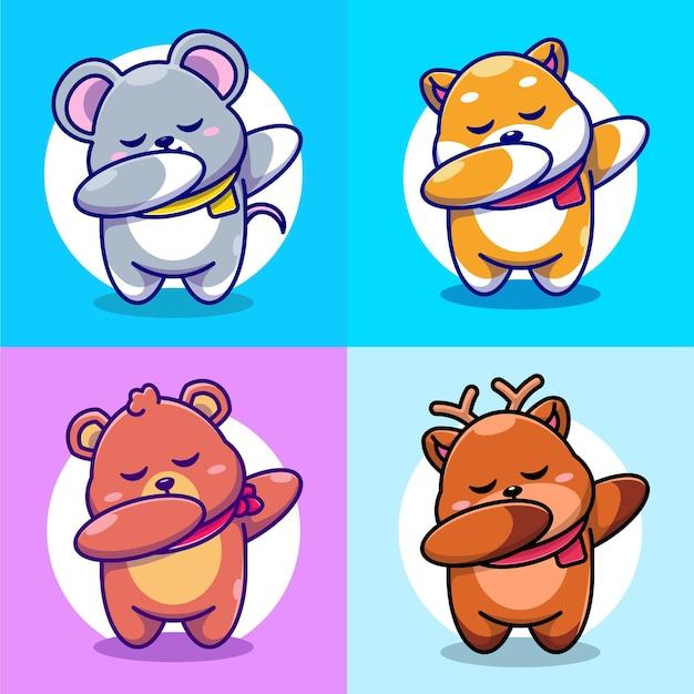Cute baby bearmouseshiba inu i deer dabbing cartoon