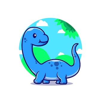 Cute baby brontozaur postać z kreskówki. dino zwierząt na białym tle.