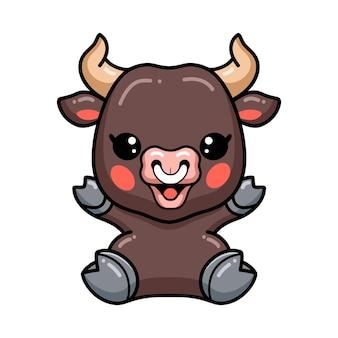 Cute baby bull cartoon siedzi