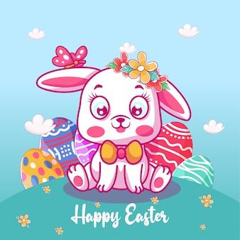Cute baby bunny z ilustracją easter egg
