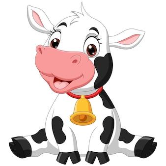 Cute baby cartoon krowa siedzi