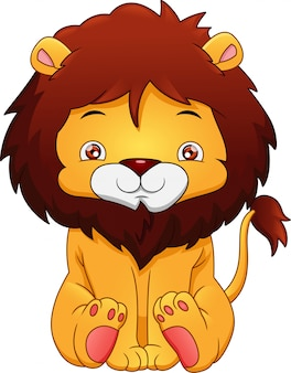 Cute baby cartoon lion