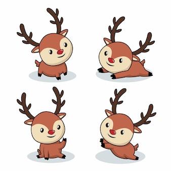 Cute baby deer kreskówka na białym tle