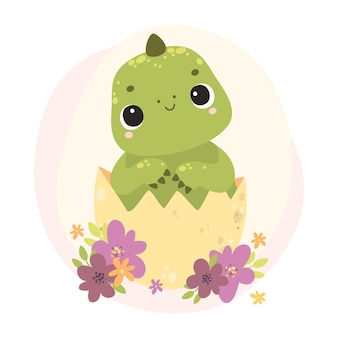 Cute baby dinozaur dinozaur w jajku noworodek