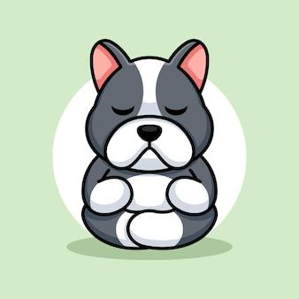 Cute baby dog cartoon medytacja