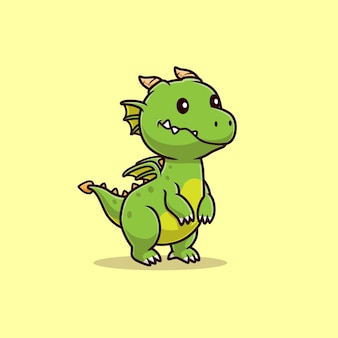 Cute baby dragon kreskówka wektor ikona ilustracja. zwierzęca natura ikona koncepcja białym tle premium wektor. płaski styl kreskówki