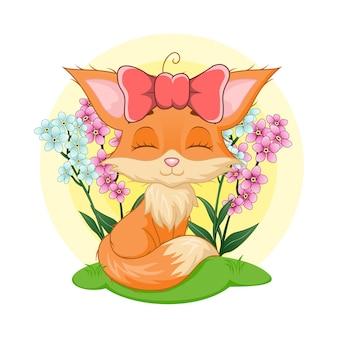 Cute baby fox dziewczyna siedzi na trawie