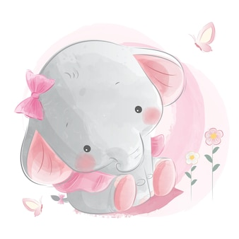 Cute baby girl elephant