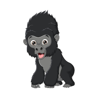 Cute baby goryl kreskówka na białym tle