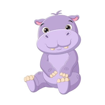 Cute baby hipopotam kreskówka na białym tle