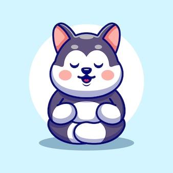Cute baby husky kreskówka medytacja