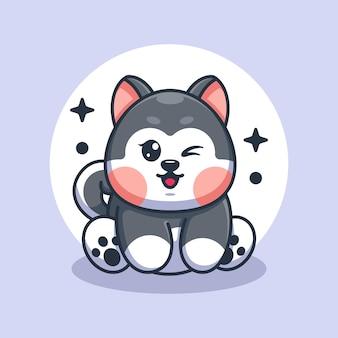 Cute baby husky pies siedzi kreskówka