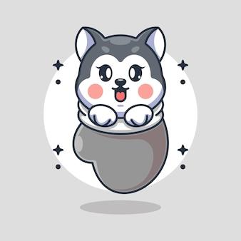 Cute baby husky pies w rękawicy kreskówka