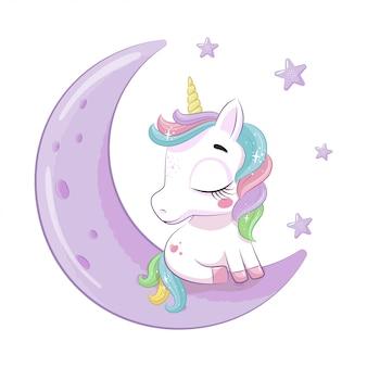 Cute baby jednorożca siedzi na księżycu. ilustracja na chrzciny, kartkę z życzeniami, zaproszenie na imprezę, nadruk koszulki z modnymi ubraniami.