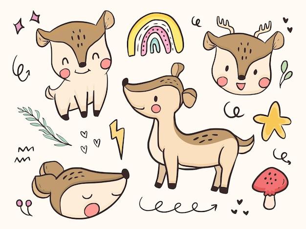 Cute baby jelenia zwierząt ilustracja kreskówka
