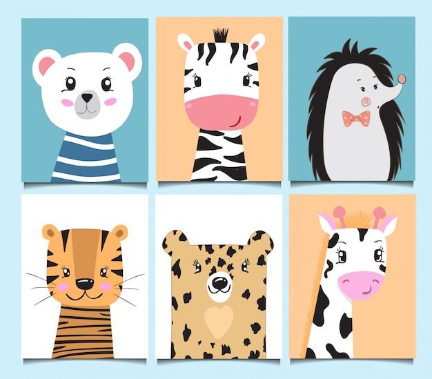 Cute baby karty zwierząt kreskówki ręcznie rysowane urodziny