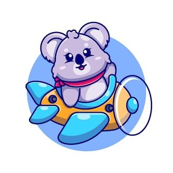 Cute baby koala jazdy samolot kreskówka