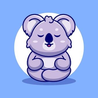 Cute baby koala kreskówka medytacja