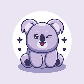 Cute baby koala siedzi kreskówka