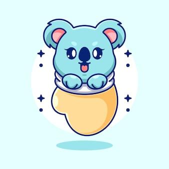 Cute baby koala w rękawiczce kreskówki