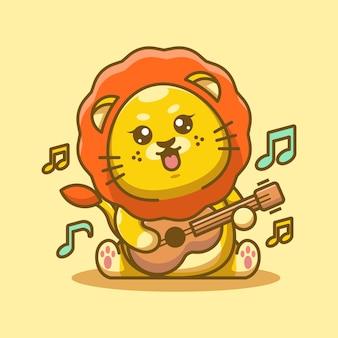 Cute baby król lew gra na gitarze kreskówka