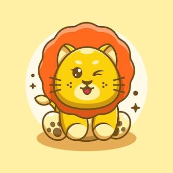 Cute baby król lew siedzi kreskówka
