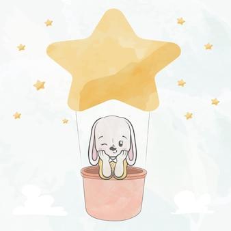 Cute baby królik w ręcznie rysowane kreskówki kolor wody balon gwiazda