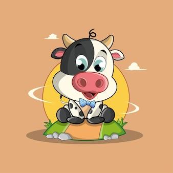 Cute baby krowa ilustracja kreskówka